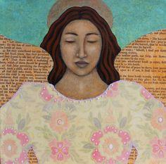 """Paper Angel"" by Tamara Adams Entertaining Angels, Paper Angel, Angel Eyes, Love You Mom, Mexican Art, Mixed Media Art, Folk Art, Primitive, Whimsical"