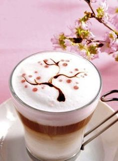 .·:*¨¨*:·.Coffee ♥ Art.·:*¨¨*:·. Sakura latte artMore Pins Like This One At FOSTERGINGER @ PINTEREST No Pin Limitsでこのようなピンがいっぱいになるピンの限界