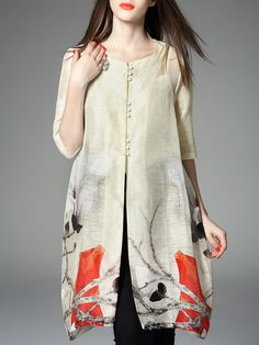 Shop Tunics - Crew Neck Linen Half Sleeve Casual Tunic online. Discover unique designers fashion at StyleWe.com.