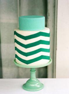 zig-zag-cake-teal-wedding-cake - Once Wed Pretty Cakes, Beautiful Cakes, Amazing Cakes, Take The Cake, Love Cake, Chevron Cakes, Emerald Green Weddings, Mint Weddings, Turquoise Weddings