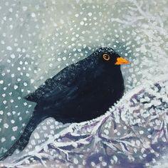 Acrylic on paper 15 x 16.5 cm blackbird in the snow . . . . . . #blackbird #blackbirds #artistsoninstagram #snow# #snowincornwall…