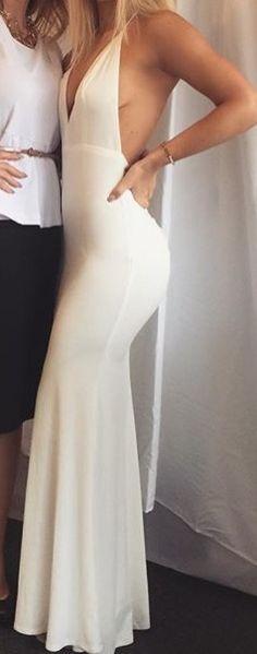 Popular White Prom Dress,Sexy V-Neck Party Dress,Open Back Evening Dress,Spaghetti Straps Prom Dress,Custom Made