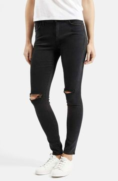 Topshop Moto 'Leigh' Ripped Skinny Jeans (Short & Regular) available at…