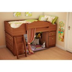South Shore Imagine Storage Loft Kids Bed - Cherry (twin)