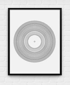 Geometric Vinyl Record  Printable Poster  by BlackAndWhitePosters, $5.00