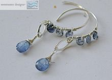 Tanzanite Iolite designer hoops forged demi Sterling Silver dangle earrings