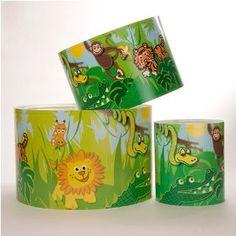 Medium Childrens Lampshade Jungle Scene by Raw Design: Amazon.co.uk: Lighting