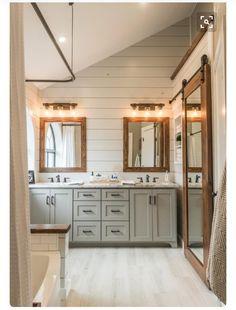 Modern Farmhouse Bathroom Before & After - Irwin Construction Love this! Modern Farmhouse Bathroom Before & After– Irwin Construction. Bad Inspiration, Bathroom Inspiration, Bathroom Renos, Master Bathroom, Bathroom Cabinets, Bathroom Vanities, Shiplap In Bathroom, Lake Bathroom, Bathroom Gray