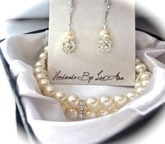 Bridal jewelry  Pearl bracelet and earrings by QueenMeJewelryLLC, $62.99