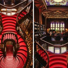 The most beautiful bookshop Livraria Lello in Porto, Portugal. Classic gothic library design with winding curved staircase. Livraria Lello Porto, Beautiful World, Most Beautiful, Portugal, Curved Staircase, Source Of Inspiration, Lonely Planet, Stairways, Great Places