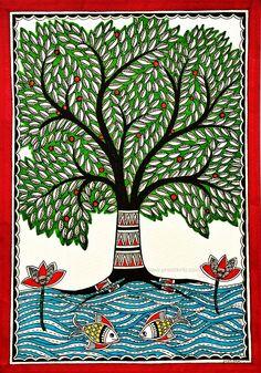 Kalpvriksha- The Tree Of Life 6 by Pratibha Madan Madhubani Paintings Peacock, Madhubani Art, Indian Art Paintings, Gond Painting, Mural Painting, Doodle Art Drawing, Mandala Drawing, Life Drawing, Indian Traditional Paintings