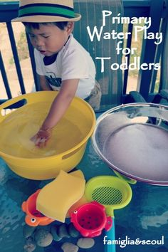 Connecting Family and Seoul: Primary Water Play for Toddlers + 6 More Simple Ways to Play Outdoors Outdoor Activities For Kids, Sensory Activities, Infant Activities, Educational Activities, Summer Activities, Learning Activities, Sensory Play, Family Activities, Toddler Play