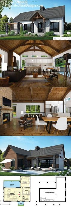 Looooove. Architectural Designs Modern Ranch Home Plan 22468DR. Sleek on the outside, vaulted with beams on the inside. 2 beds and over 1,200 square feet of living plus an unfinished basement. Ready when you are. Where do YOU want to build?