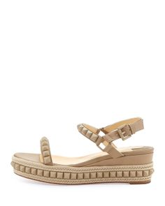Christian Louboutin Cataclou Studded Platform Wedge Sandal, Beige - Neiman Marcus