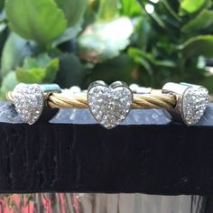 HP9-28-15 Heart Rope Gold/Silver Bracelet ❤️ ❤️Two Tone Gold/Silver ❤️❤️❤️ Bracelet with clasp closure. Crystals in hearts are simply sparkling . Will go with everything AND ANYTHING.  Chosen as a Wardrobe Staple Host pick by Lelia @luxeladylg Please stop by her stunning closet.  Mahalo Lelia  Angel of Dreams Boutique Jewelry Bracelets