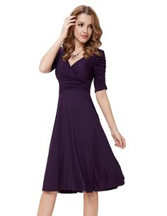 Ever Pretty 3/4 Sleeve Ruched Waist Classy V-Neck Casual Cocktail Dress 03632 at Amazon Women's Clothing store: