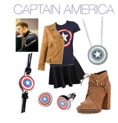 """""""CAPTAIN AMERICA!!!!!!!"""" by olivia200212 on Polyvore featuring WithChic, Marvel, Golden Goose and BCBGeneration"""