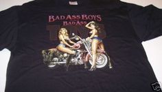 Biker T Shirt Bad Ass Boys Bad Ass Toys Motorcycle Sexy Girls T Shirt  Black XL  | eBay