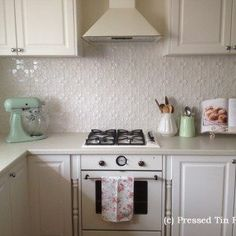 """""""Pressed Tin Panels""""- suppliers for Original Classic White (Formerly Pearl White) Kitchen Splash Back"""