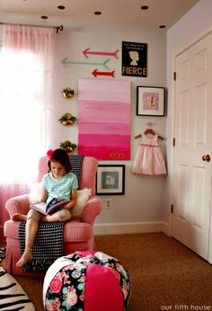 little girl's room - gallery wall - we could do this on the closet wall in her room too!!