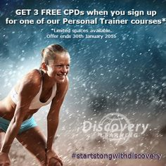Start the year strong and get your 3 FREE CPDs when you book your PT course with Discovery Learning. Limited spaces available so hurry, hurry! #personaltrainer #fitness #health #training #fitfam