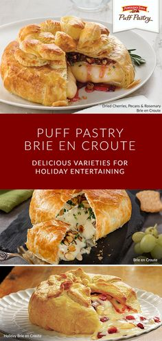 Entertaining is an art form. That's why these Puff Pastry Brie en Croute recip. Brie Puff Pastry, Pepperidge Farm Puff Pastry, Puff Pastry Recipes, Brie Cheese Recipes, Appetizers For Party, Appetizer Recipes, Sandwich Recipes, Dinner Parties, Brie En Croute