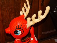 Inflatable Red Christmas Reindeer 1960's by TheIDconnection, $35.00