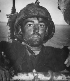 US Marine after two days of fighting on Eniwetok Atoll in the Marshall Islands, Feb 1944.