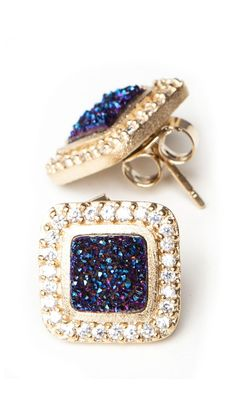 Dark Blue Studs by Marcia Moran....LOVE these