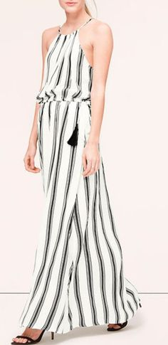 LOFT Stripe Tasseled Halter Maxi Dress