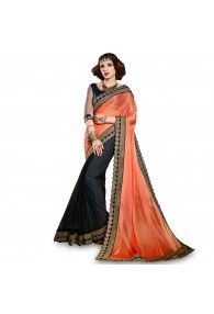 Unique Orange and Black Embroidered Party Wear Saree With Matching Blouse