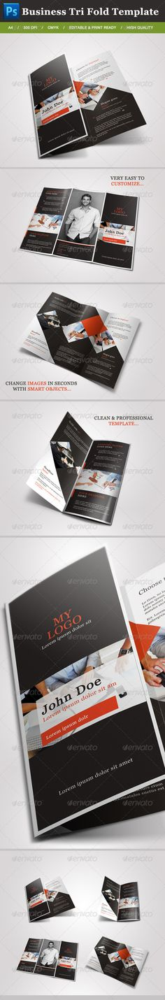 Business Tri Fold Brochure  #GraphicRiver         This is a complete layout for a printable try fold brochure. Text and images/colors are easy to change, just drop in your own text and images. You can use this brochure for any typ of bussines or for personal usage. The layers are well organized and the files are created in order to be used by everyone,..  	 1 Photoshop file A4 8 .5 × 11 inches + bleeds 300 DPI / Print Ready / CYMK  Instructions file included easy to edit  	 If you like my…