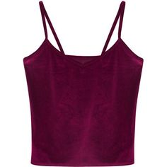 Purple V-neck Velvet Cropped Cami Top ($18) ❤ liked on Polyvore featuring tops, crop top, shirts, blusas, camisole tops, cami top, velvet shirt, cropped shirts and purple crop top