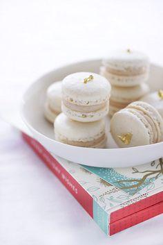 gold-topped vanilla macarons