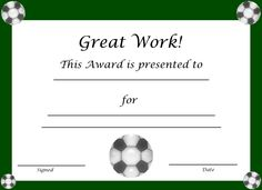 Soccer Award Certificates  Outdoor