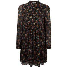 Saint Laurent wild flower print folk dress (101.315 RUB) ❤ liked on Polyvore featuring dresses, black, floral print dress, colorful dresses, long sleeve pleated dress, multi color dress and long sleeve silk dress