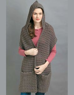 Craft Passions: Hooded scarf with pockets.# free # crochet pattern...