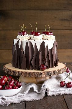 This Black Forest Cake combines rich chocolate cake layers with fresh cherries, . - This Black Forest Cake combines rich chocolate cake layers with fresh cherries, cherry liqueur, and - Food Cakes, Cupcake Cakes, Sweets Cake, Macaron Cake, Whipped Cream Frosting, Cherry Frosting, Buttercream Frosting, Black Forest Cake, Black Forest Birthday Cake