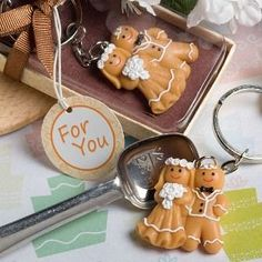 Adorable gingerbread bride and groom key rings  $3.49