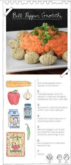 Bell pepper gnocchi. The vegan stoner cookbook. Vegan recipe