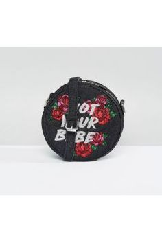 Skinnydip Not Your Babe Floral Embroidered Cross Body Bag - Black