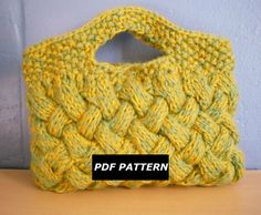 Knitting Pattern, Woven Cable Clutch Bag