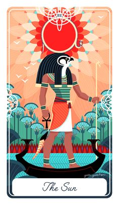 The sun card is about success and birth. It is positivity and confidence after passing through difficult times. It is the peak of radiance, and everything is clear and straightforward.   I chose Ra, the Sun god of Ancient Egypt. Every night he would be swallowed, but every morning he would fight and emerge victorious. I depicted him on his barge, illuminating and making everything feel lush and bright. He is also the god responsible for creating all things, so he's also a symbol of…