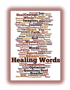 The Affirmation for this Weekend Wordle is: Healing Words and Healing Thoughts carry my body, mind, and spirit to healing places.
