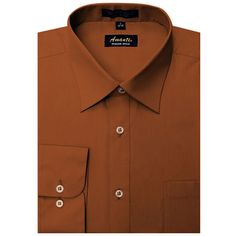 Sun Men's Wrinkle-free Rust Dress Shirt ($25) ❤ liked on Polyvore featuring men's fashion, men's clothing, men's shirts, men's dress shirts, brown, mens button down shirts, mens dress shirts, mens longsleeve shirts, men's wrinkle free dress shirts and mens button up dress shirts