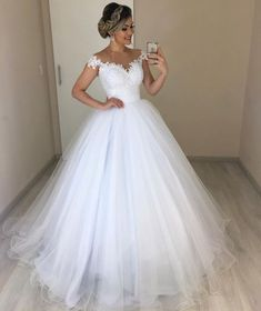 Off the Shoulder White Tulle Ball Gown Wedding Dress with Appliques Vestido de n. - Off the Shoulder White Tulle Ball Gown Wedding Dress with Appliques Vestido de novia by fancygirldr - Top Wedding Dresses, Wedding Dress Trends, Princess Wedding Dresses, Bridal Dresses, Wedding Gowns, Bridesmaid Dresses, Lace Wedding, Wedding White, Wedding Cakes