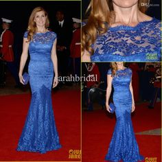 Wholesale Evening Dress - Buy White House Correspondents Dinner 2014 Red Carpet Mermaid Celebrity Dresses Connie Britton Lace Royal Blue Long Evening Party Dress Gowns, $140.16 | DHgate