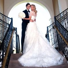 When Donald Trump's daughter, Ivanka, was married to Jared Kushner, obviously money was no object. Given her family background,this was probably one of the most expensive celebrity wedding dresses (her earrings alone were $130,000!)