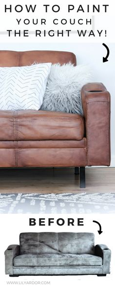 Best Decor Hacks : Description Here's how to properly paint your microfiber couch to look like real leather! Furniture Ads, Paint Furniture, Cheap Furniture, Rustic Furniture, Furniture Websites, Furniture Refinishing, Furniture Stores, Paint Leather Couch, Leather Furniture