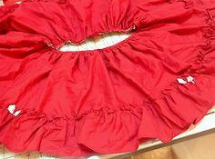 Vintage Red Cotton Ruffle  Skirt Piece  28 inch waist